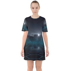 Skyline Night Star Sky Moon Sickle Sixties Short Sleeve Mini Dress