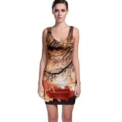 Tree Skyline Silhouette Sunset Bodycon Dress