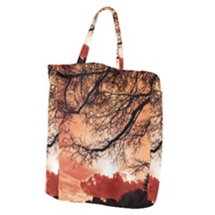 Tree Skyline Silhouette Sunset Giant Grocery Zipper Tote