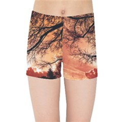 Tree Skyline Silhouette Sunset Kids Sports Shorts
