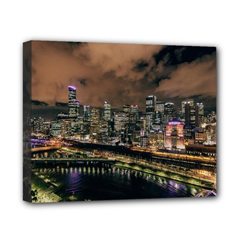 Cityscape Night Buildings Canvas 10  X 8