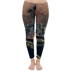 Cityscape Night Buildings Classic Winter Leggings by Simbadda