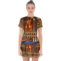 Shanghai Skyline Architecture Drop Hem Mini Chiffon Dress by Simbadda