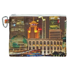 Shanghai Skyline Architecture Canvas Cosmetic Bag (xl) by Simbadda