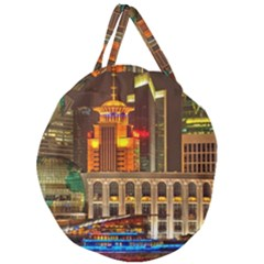 Shanghai Skyline Architecture Giant Round Zipper Tote