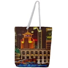 Shanghai Skyline Architecture Full Print Rope Handle Tote (large)