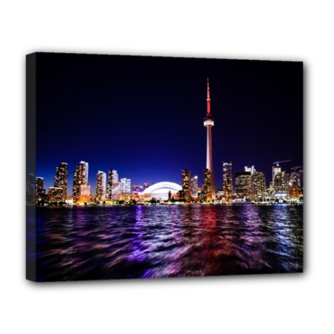 Toronto City Cn Tower Skydome Canvas 14  x 11