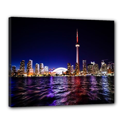 Toronto City Cn Tower Skydome Canvas 20  x 16