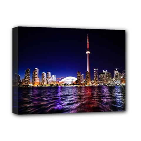 Toronto City Cn Tower Skydome Deluxe Canvas 16  x 12
