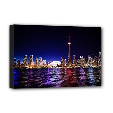 Toronto City Cn Tower Skydome Deluxe Canvas 18  x 12