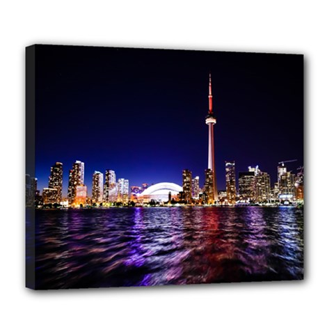 Toronto City Cn Tower Skydome Deluxe Canvas 24  x 20