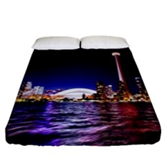 Toronto City Cn Tower Skydome Fitted Sheet (Queen Size)