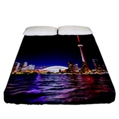 Toronto City Cn Tower Skydome Fitted Sheet (California King Size)