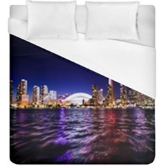 Toronto City Cn Tower Skydome Duvet Cover (King Size)