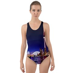 Toronto City Cn Tower Skydome Cut-Out Back One Piece Swimsuit