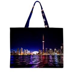 Toronto City Cn Tower Skydome Zipper Large Tote Bag