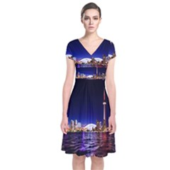 Toronto City Cn Tower Skydome Short Sleeve Front Wrap Dress