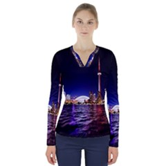 Toronto City Cn Tower Skydome V-Neck Long Sleeve Top