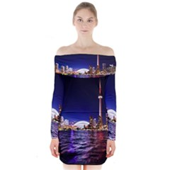Toronto City Cn Tower Skydome Long Sleeve Off Shoulder Dress