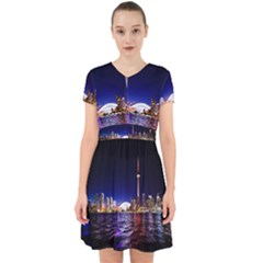 Toronto City Cn Tower Skydome Adorable in Chiffon Dress
