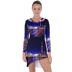 Toronto City Cn Tower Skydome Asymmetric Cut-Out Shift Dress
