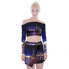 Toronto City Cn Tower Skydome Off Shoulder Top with Mini Skirt Set