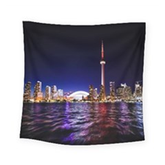 Toronto City Cn Tower Skydome Square Tapestry (Small)