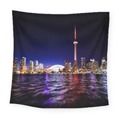 Toronto City Cn Tower Skydome Square Tapestry (Large)