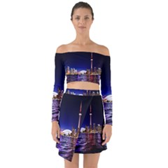 Toronto City Cn Tower Skydome Off Shoulder Top with Skirt Set