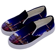 Toronto City Cn Tower Skydome Kids  Canvas Slip Ons