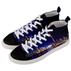 Toronto City Cn Tower Skydome Men s Mid-Top Canvas Sneakers