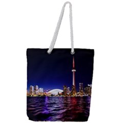 Toronto City Cn Tower Skydome Full Print Rope Handle Tote (Large)