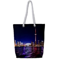 Toronto City Cn Tower Skydome Full Print Rope Handle Tote (Small)