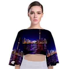 Toronto City Cn Tower Skydome Tie Back Butterfly Sleeve Chiffon Top