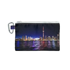 Toronto City Cn Tower Skydome Canvas Cosmetic Bag (Small)