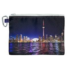 Toronto City Cn Tower Skydome Canvas Cosmetic Bag (XL)