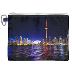Toronto City Cn Tower Skydome Canvas Cosmetic Bag (XXL)