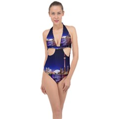 Toronto City Cn Tower Skydome Halter Front Plunge Swimsuit
