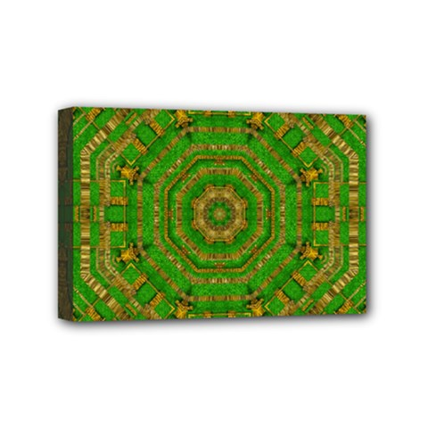 Wonderful Mandala Of Green And Golden Love Mini Canvas 6  X 4