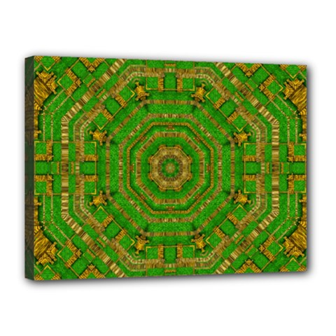 Wonderful Mandala Of Green And Golden Love Canvas 16  X 12