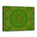Wonderful Mandala Of Green And Golden Love Canvas 16  x 12  View1