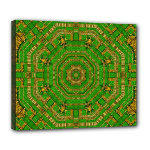 Wonderful Mandala Of Green And Golden Love Deluxe Canvas 24  X 20   by pepitasart