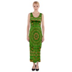 Wonderful Mandala Of Green And Golden Love Fitted Maxi Dress by pepitasart