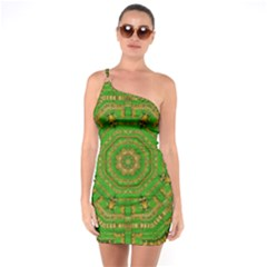 Wonderful Mandala Of Green And Golden Love One Soulder Bodycon Dress by pepitasart