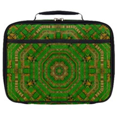 Wonderful Mandala Of Green And Golden Love Full Print Lunch Bag by pepitasart
