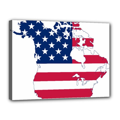 Flag Map Of Canada And United States (american Flag) Canvas 16  X 12  by goodart