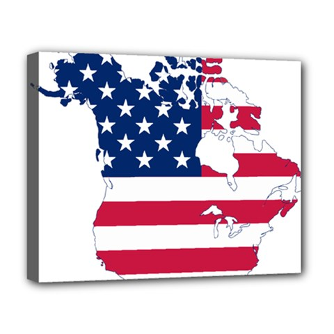 Flag Map Of Canada And United States (american Flag) Deluxe Canvas 20  X 16   by goodart