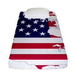 Flag Map Of Canada And United States (american Flag) Fitted Sheet (single Size) by goodart