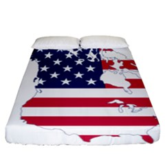 Flag Map Of Canada And United States (american Flag) Fitted Sheet (california King Size) by goodart