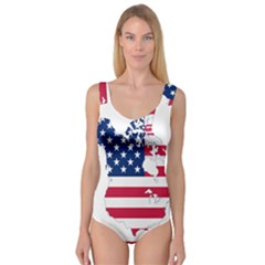 Flag Map Of Canada And United States (american Flag) Princess Tank Leotard  by goodart